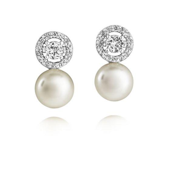Jersey Pearl Amberley Halo Cluster Earrings
