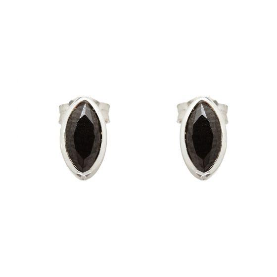 Annie Haak Marquise Silver Earrings - Hematite