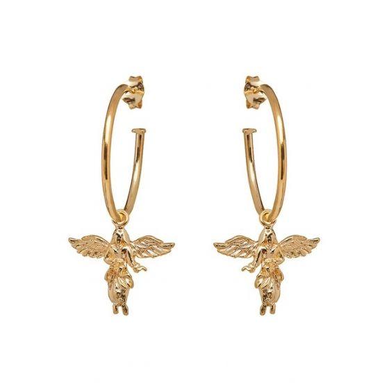 Annie Haak My Guardian Angel Gold Hoop Earrings