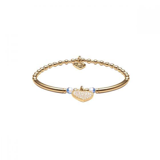 Annie Haak Siska Gold Charm Bracelet - Clear Crystal Heart B1093-17