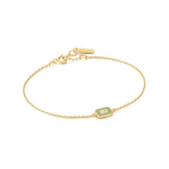 Ania Haie Sage Enamel Emblem Gold Bracelet