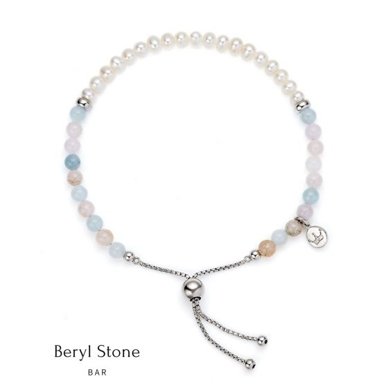 Jersey Pearl Sky Bracelet - Bar Style in Beryl