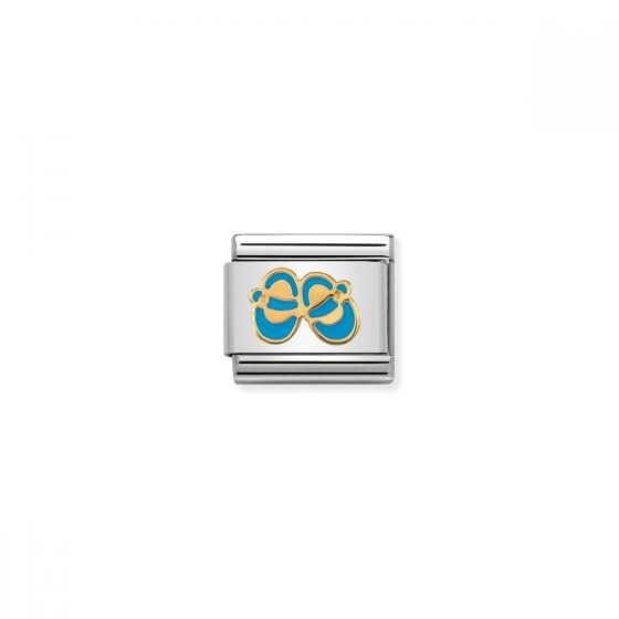 Nomination Classic Blue Baby Shoes Charm - 18k Gold - 030242/38