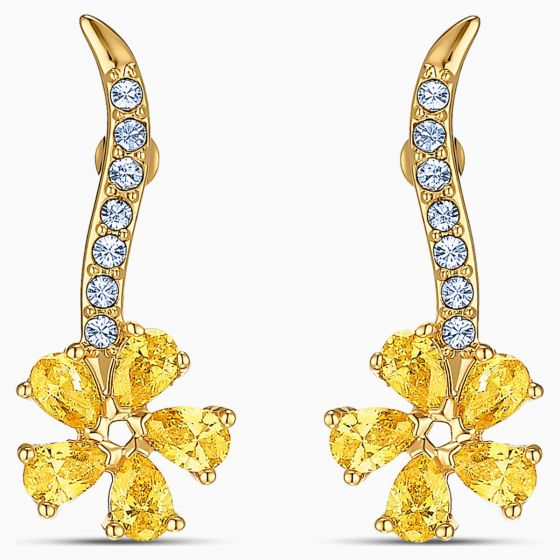 Swarovski Botanical Flower Pierced Earrings - Gold-tone Plated - 5535796