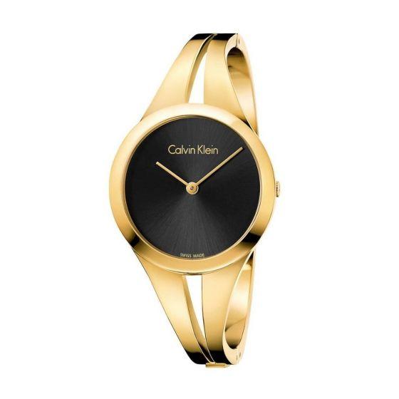 Calvin Klein Ladies Addict Bangle Watch - Black and Gold Tone
