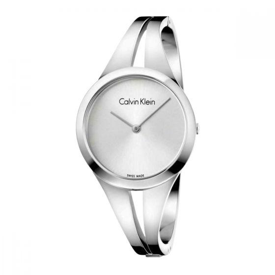 Calvin Klein Ladies Addict Bangle Watch - White and Silver Tone