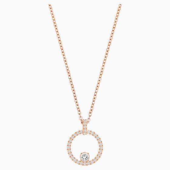 Swarovski Creativity Circle Pendant, White, Rose Gold Plating 5202446