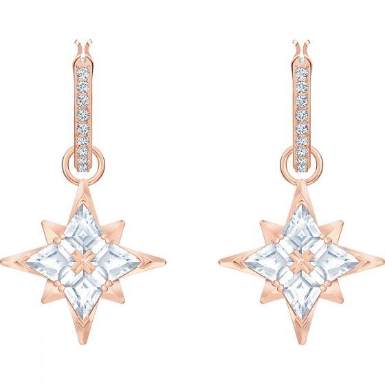Swarovski Symbolic Star Hoop Pierced Earrings, White, Rose Gold Plating 5494337