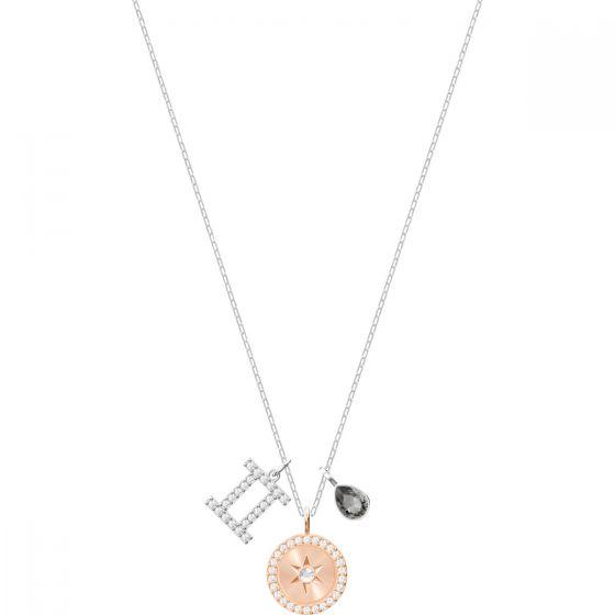 Swarovski Zodiac Pendant, Gemini, Grey, Rhodium Plating 5349217