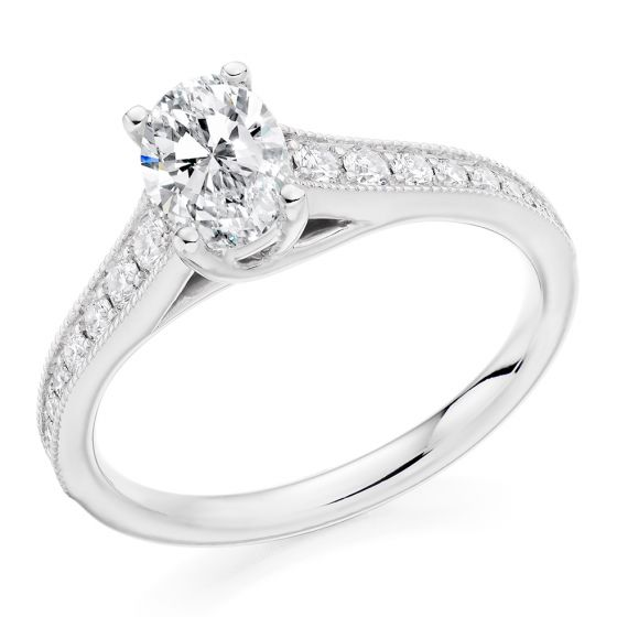 Oval Cut Diamond Solitaire Ring with Vintage Style Shoulders
