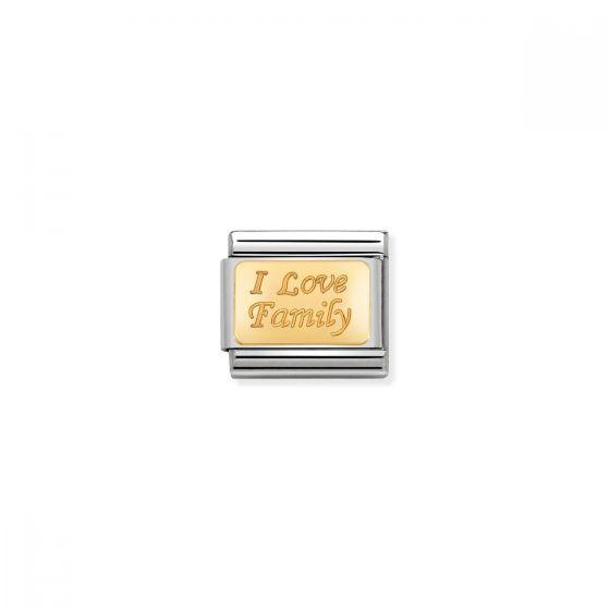 Nomination Classic I Love Family Charm - 18k Gold - 030121/33