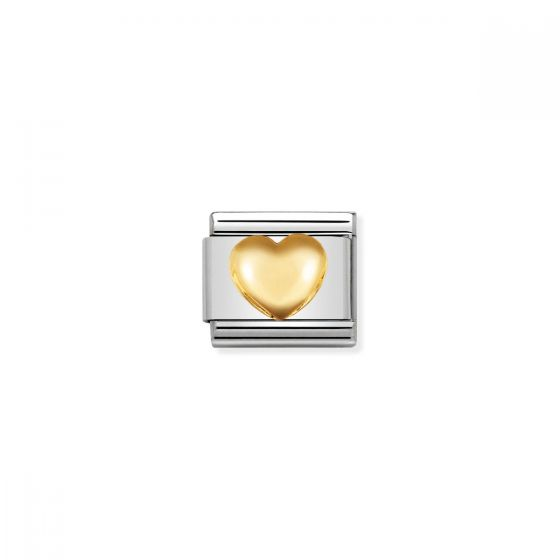 Nomination Raised Heart Charm - 18k Gold - 030116/01