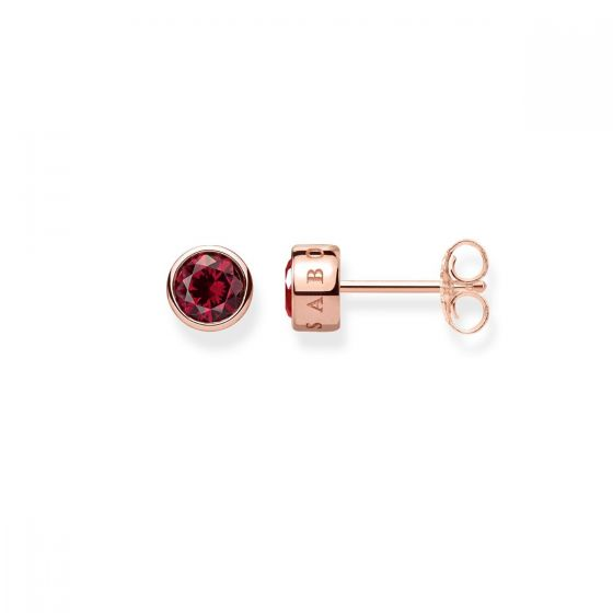 Thomas Sabo Classic Red Stud Earrings - Rose Gold - H1963-540-10