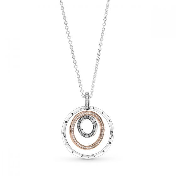 Pandora Two-tone Sterling Silver and 14K Rose gold plated Circles Pendant and Necklace - 60cm  - 389483C01-60