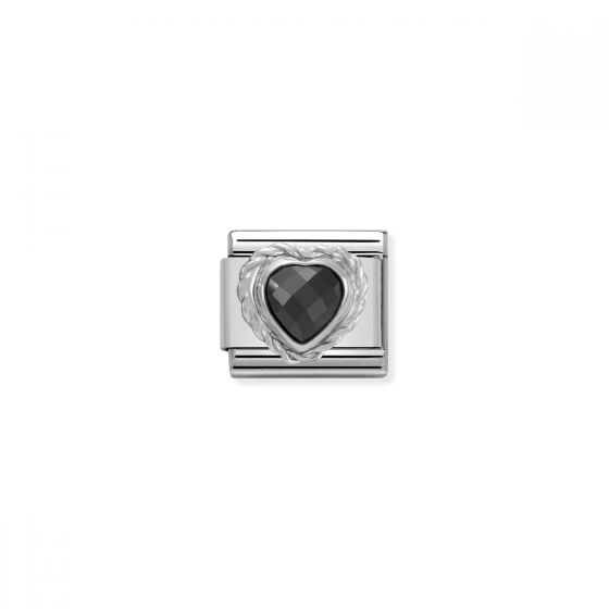 Nomination Silver and Zirconia Classic Faceted Heart Charm - Black - 330603/011