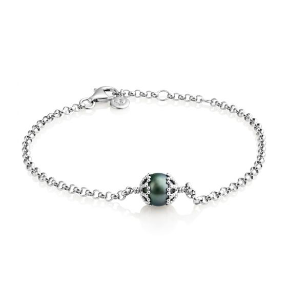 """Jersey Pearl Emma-Kate 7-8"""" Bracelet, Silver and Peacock"""