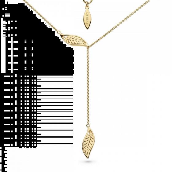 """Kit Heath Blossom Eden Slider Leaf Gold Plate Lariat 17"""" Necklace 90251GD027"""
