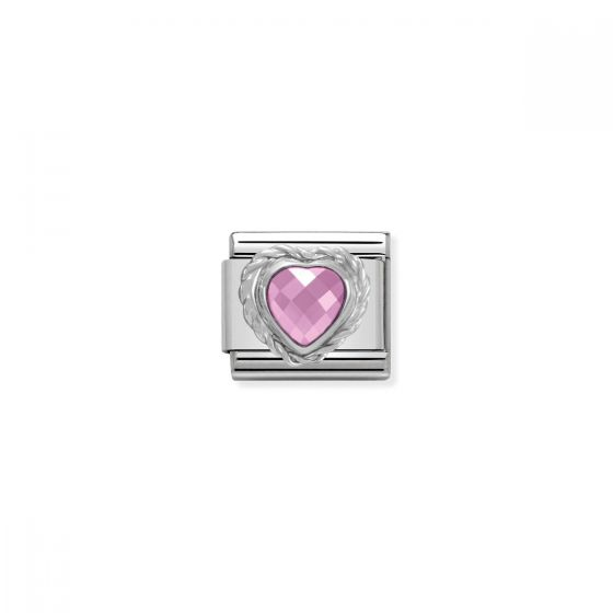 Nomination Silver and Zirconia Classic Faceted Heart Charm - Pink - 330603/003