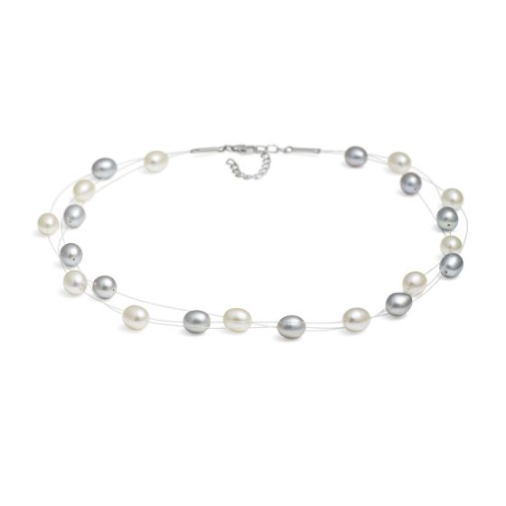 Jersey Pearl Dew Drop Pearl Necklace - Grey and White