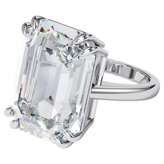 Swarovski Mesmera Rectangle Ring - White with Rhodium Plating 5610382 5600855 5610380