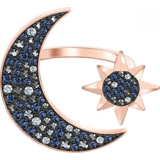 Swarovski Symbolic Moon Ring, Multi-Coloured, Rose Gold Plating 5499613
