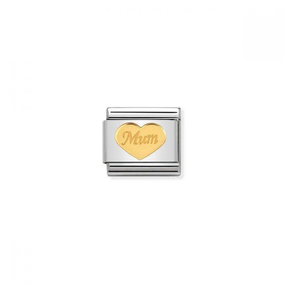Nomination Classic Mum Heart Charm - 18k Gold - 030162/38