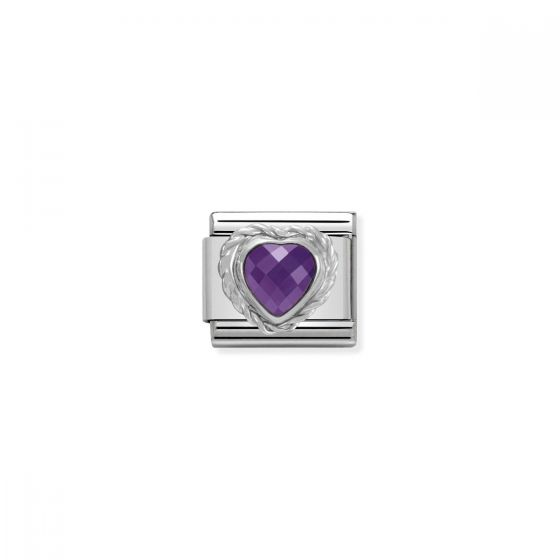 Nomination Silver and Zirconia Classic Faceted Heart Charm - Purple - 330603/001