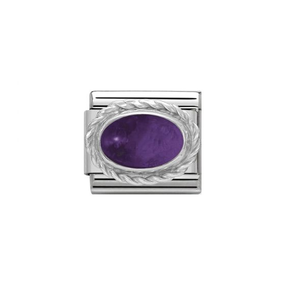 Nomination Classic Oval Stones Amethyst Charm - Sterling Silver Twist Setting