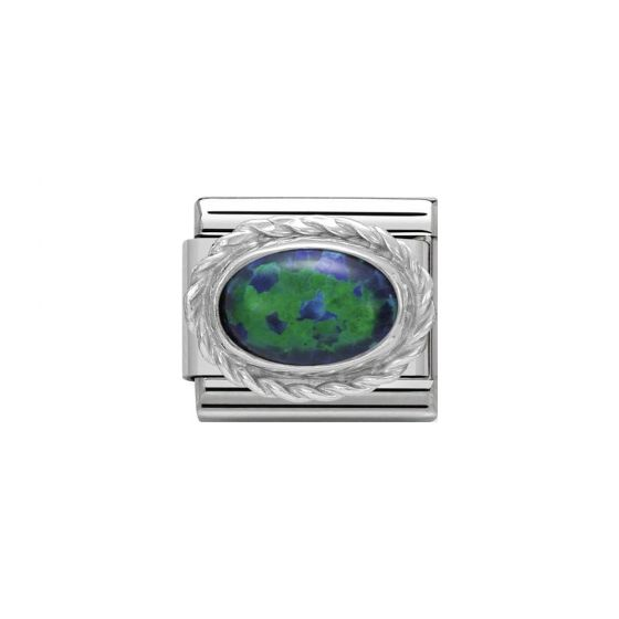 Nomination Classic Oval Stones Green Opal Charm - Sterling Silver Twist Setting