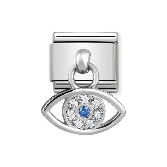 Nomination Classic Stainless Steel and 925 Silver Greek Eye Drop Charm