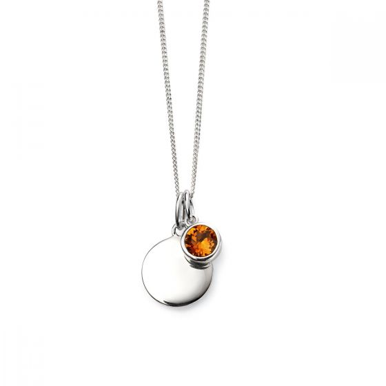 November Birthstone and Disc Necklace - Sterling Silver