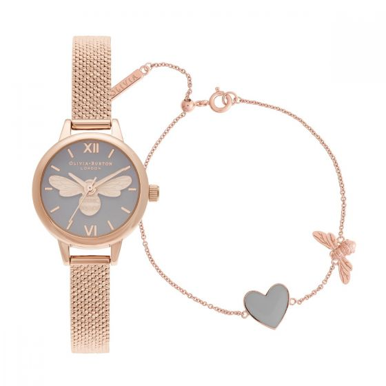 Olivia Burton You Have My Heart Rose Gold Watch and Bracelet Giftset OBGSET148