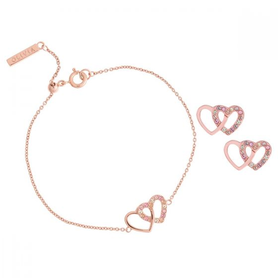 Olivia Burton Classic Interlink Heart Rose Gold Bracelet and Studs Gift Set OBJGSET61