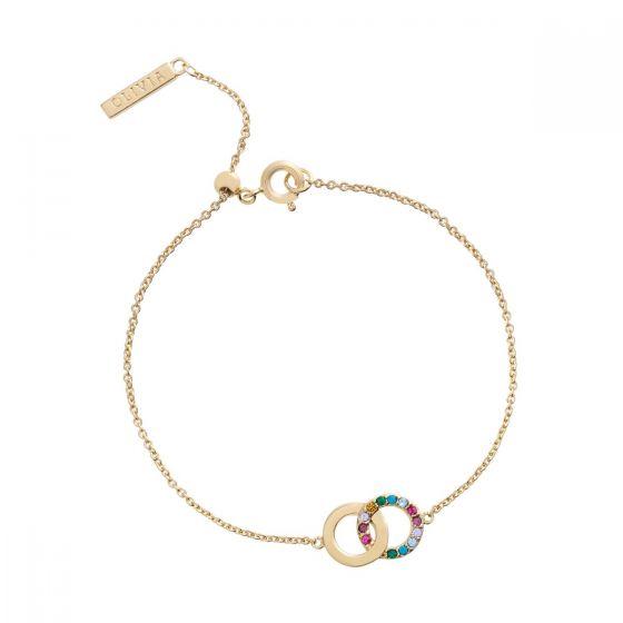 Olivia Burton Bejewelled Classics Rainbow Interlink Bracelet Gold OBJRBB20