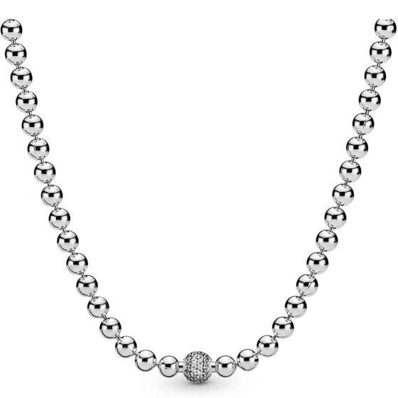 Pandora Beads & Pavé Necklace - 45cm