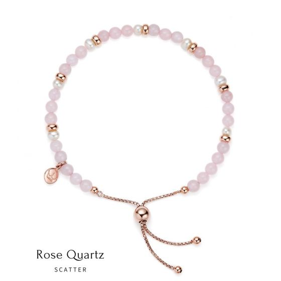 Jersey Pearl Sky Bracelet - Scatter Style in Rose Quartz