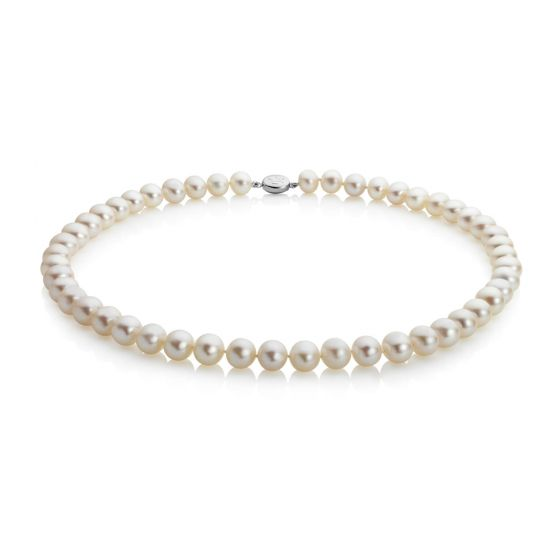 """Jersey Pearl Mid-Length, 7.0-7.5MM 18"""" Classic Pearl Necklace SKU S5S18"""