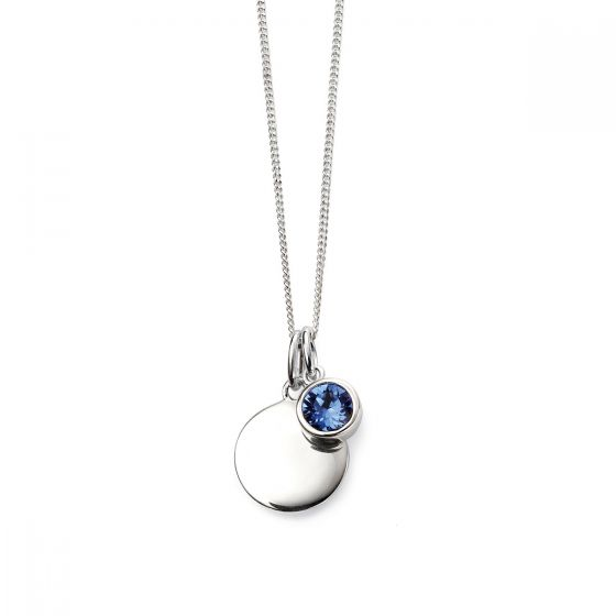 September Birthstone and Disc Necklace - Sterling Silver