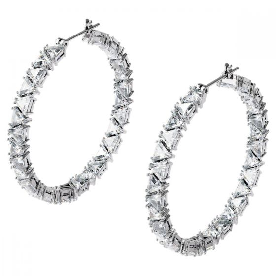 Swarovski Millenia Hoop Earrings Double Triangle - White with Rhodium Plating 5598343