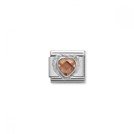 Nomination Silver and Zirconia Faceted Heart Charm - Champagne - 330603/024