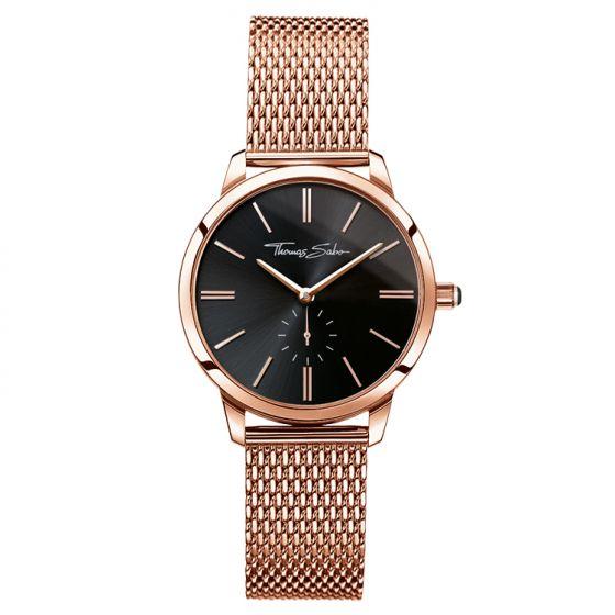 Thomas Sabo Women's Glam Spirit Watch, Mesh Rose Gold and Black WA0249-265-203