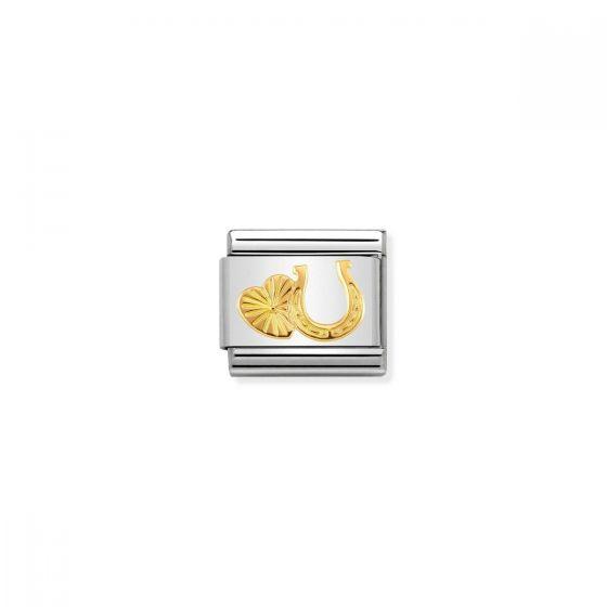 Nomination Classic Horseshoe and Heart Charm - 18k Gold - 030149/35