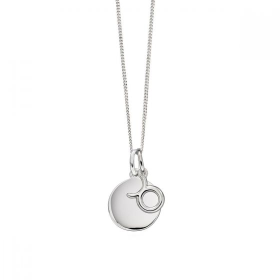 Zodiac and Disc Necklace - Sterling Silver