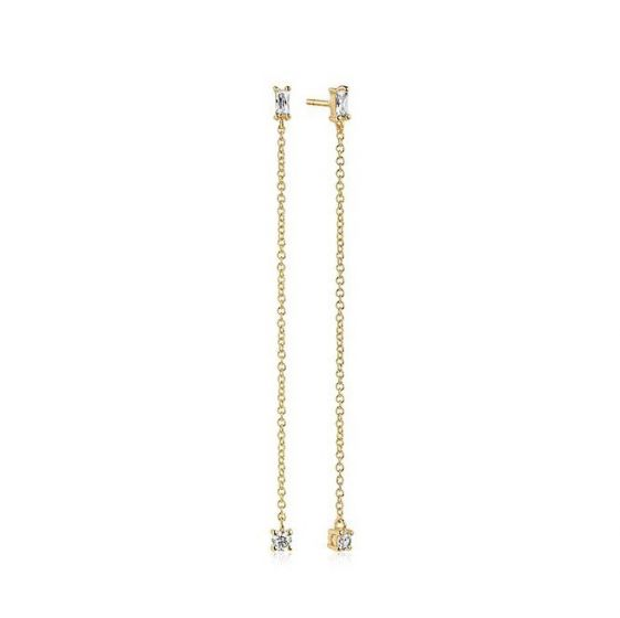 Sif Jakobs Princess Baguette Piccolo Lungo Earrings - 18k Gold Plated